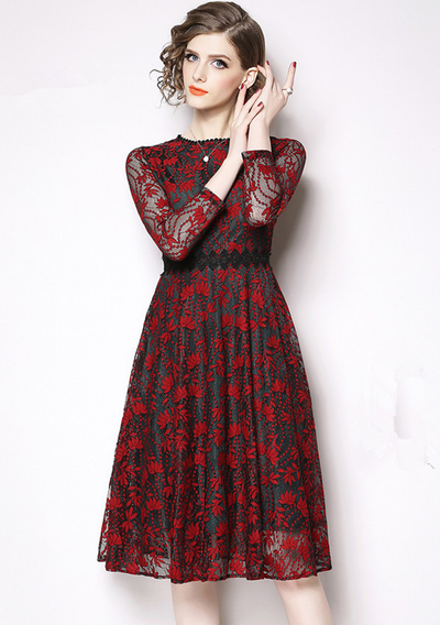 Steffy High Waist Hollow Out Floral Lace Dress