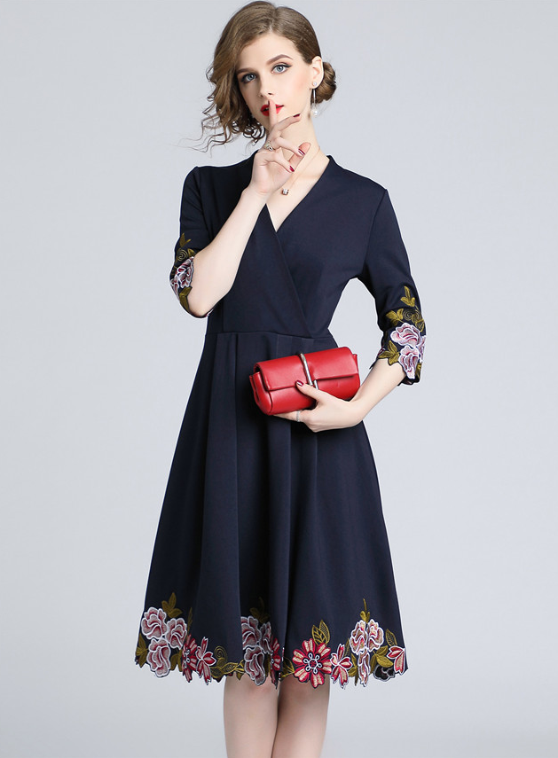 728cb8badae Jevska Floral Embroidery Flouncing A-line Dress