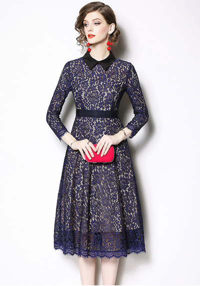 Rosalind Doll Collar Lace A-line Dress