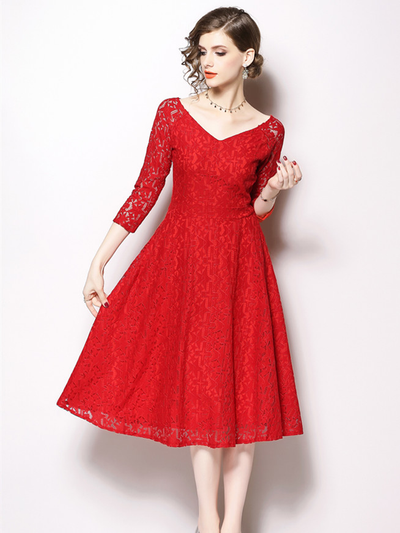 Camea Lace Hollow Out Long Dress