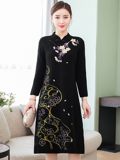 Mirabella Floral Embroidery Cheongsam A-line Dress