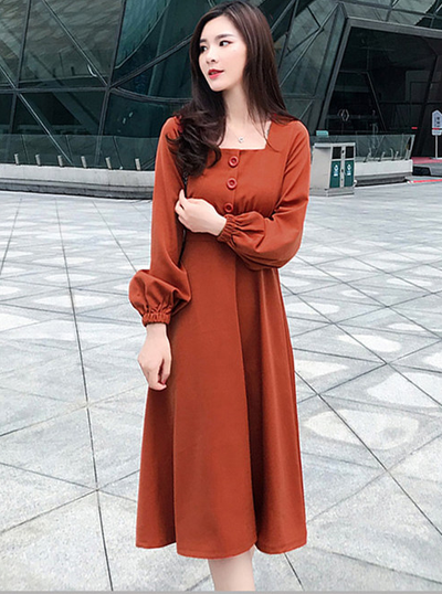 Tracy Square Collar High Waist Puff Sleeve Dress