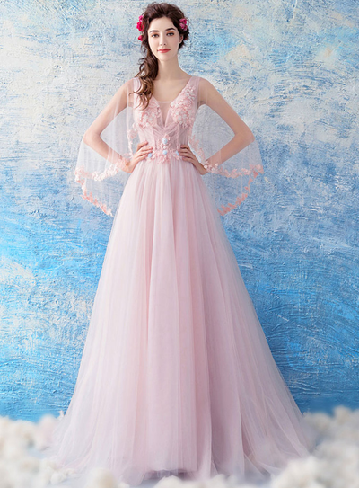 Carmelle Floral Embroidery Gauze Prom Dress