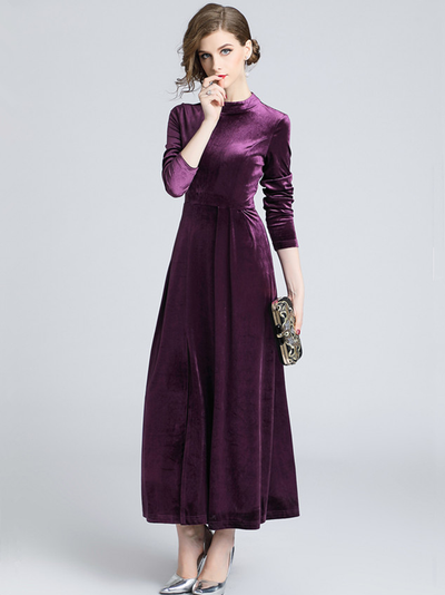 Cathlyn High Waist Split Velvet Maxi Dress