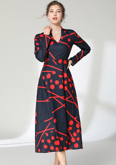 Gwendolyn High Waist Dots V-neck Long Dress
