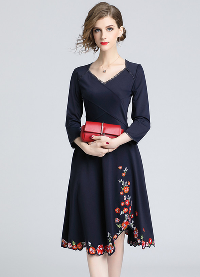 Paola High Waist Floral Embroidery Thiack A-line Dress