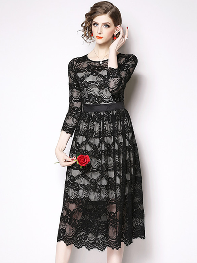 Sadee High Waist Floral Hollow Out Lace Dress