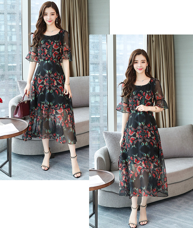Lyka Floral Butterfly Chiffon Dress