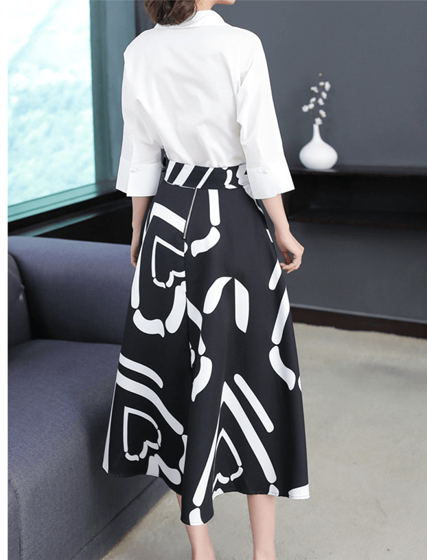 Thessa Shirt Collar Blouse with A-line Printed Skirt