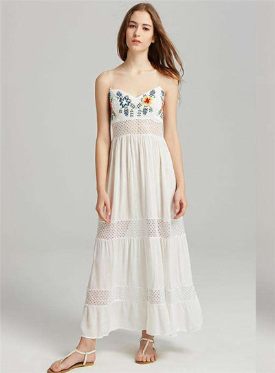 Adalin Floral Embroidery Hollow Out Long Dress