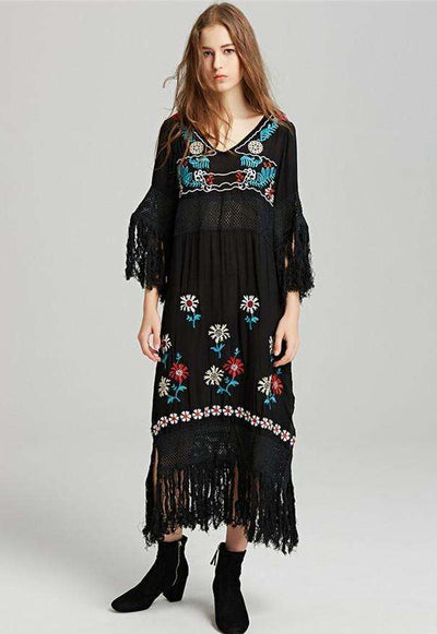 Adeline Retro Floral Embroidery Tassels Maxi Dress