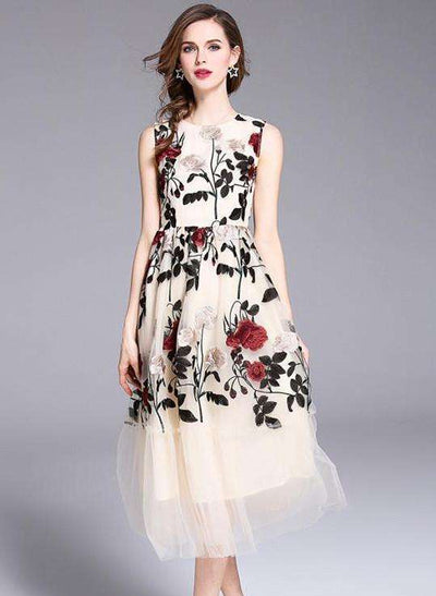 Alee Floral Embroidery Gauze Tank Dress