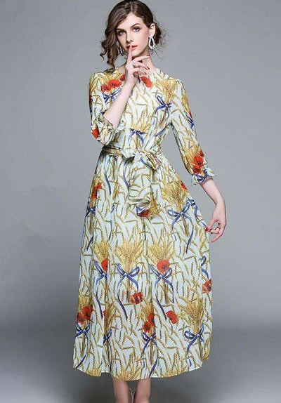Alina Retro Tie Waist Floral Print Long Dress