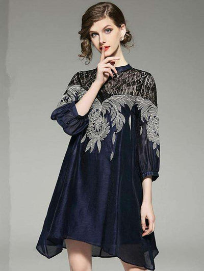 Allie Lace Flowers Embroidery A-line Dress