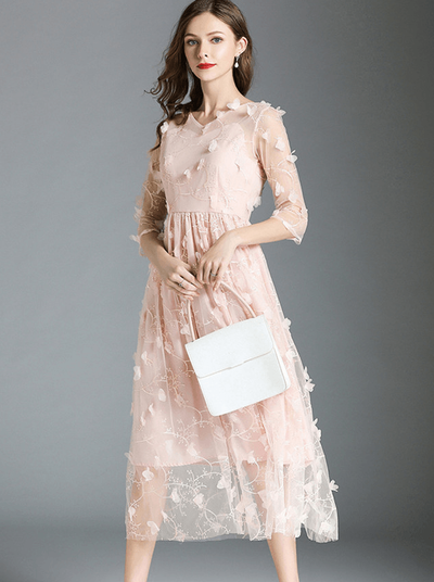 Amelita Embroidered Petals Flouncing Gauze Dress