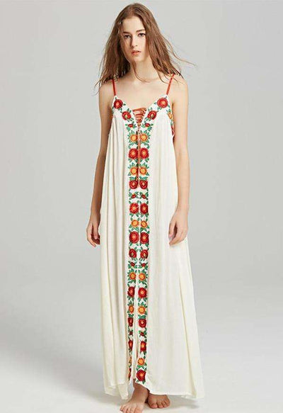 Angelina Flower Embroidery Straps Vocation Dress