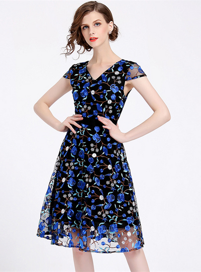 Annabella V-neck Flowers Embroidery Gauze Dress
