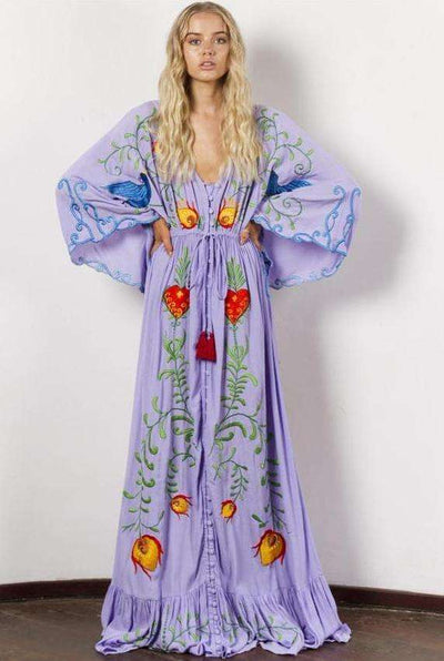Ariel Bohemia Floral Embroidery Puff Sleeve Maxi Dress