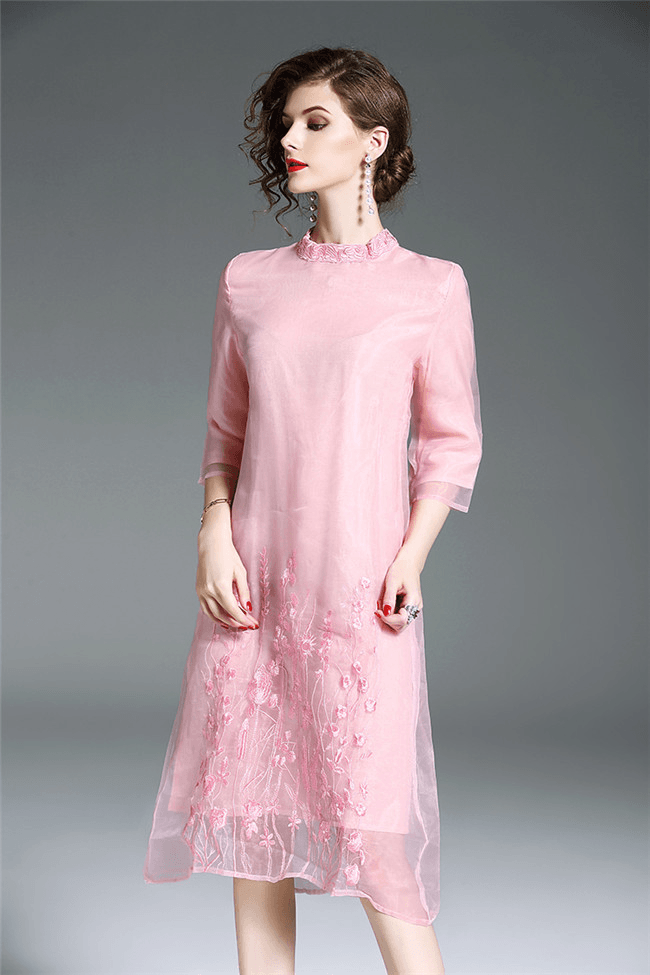 Ayn Floral Embroidery Silk A-line Dress