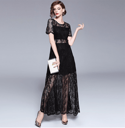 Bernadette High Waist Lace Hollow Out Long Dress