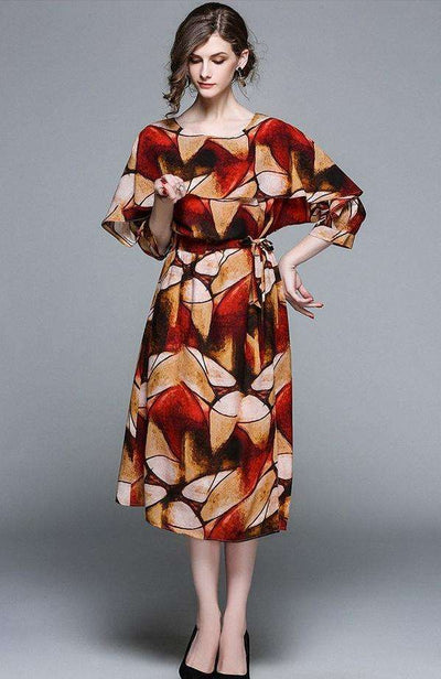 Cassidy Tie Waist Batwing Floral Long Dress