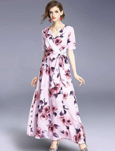 Celly Tie Waist V-neck Floral Maxi Dress
