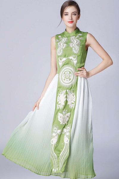 Clementine Embroidery Long Dress (GREEN)