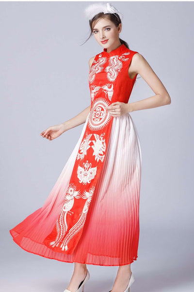 Clementine Embroidery Long Dress (RED)