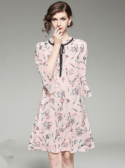 Colette Tie Collar Floral Chiffon Flare Sleeve Dress