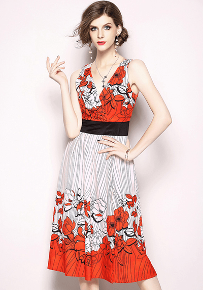 Cris V-neck Fitted Waist Floral Tank Dress