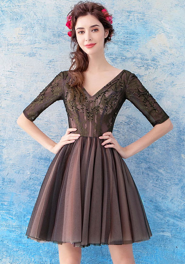 918ba3f11 Dahlia V-neck Floral Embroidery Pleated Party Dress