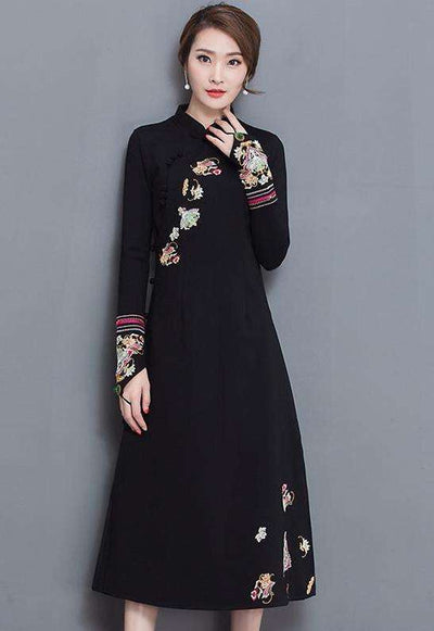 Daniela Floral Embroidery Cheongsam Long Dress