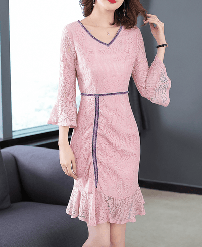 Desirie V-neck Flare Sleeve Fishtail Lace Dress
