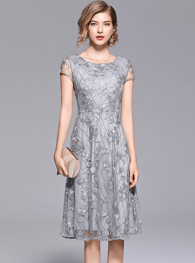 Dianna Round Neck Floral Embroidery Dress