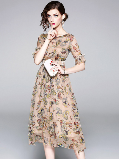 Dorothy High Waist Floral Short Sleeve Dress