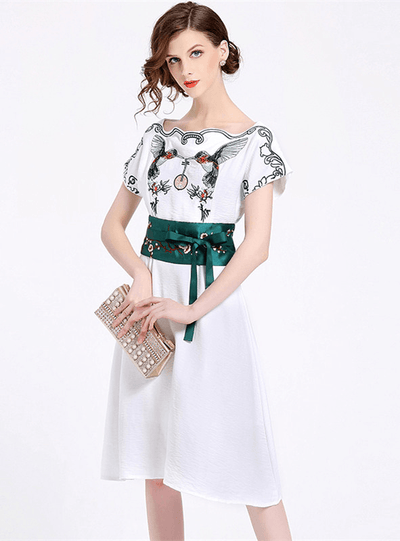 Dylan Embroidery Boat Neck Tie Waist Linen Dress