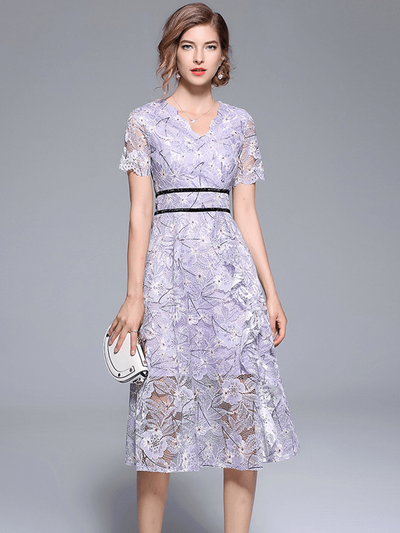 Elli Fitted Waist Flouncing Floral Lace Dress