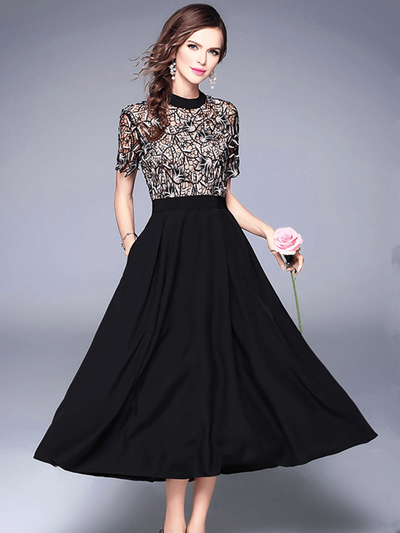 Elsa Stylish Lace Embroidery Splicing High Waist Long Dress