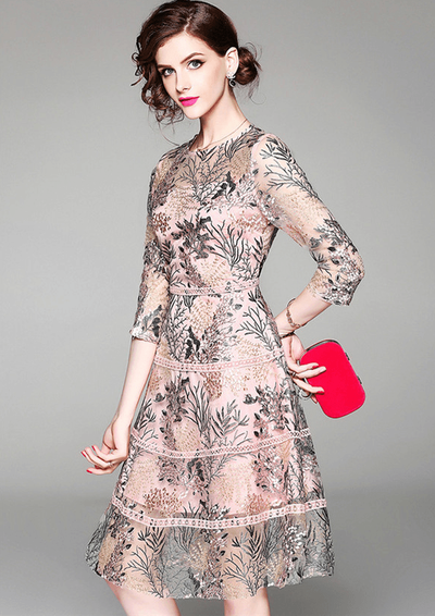 Emely Stylish Floral Embroidery Gauze A-line Dress
