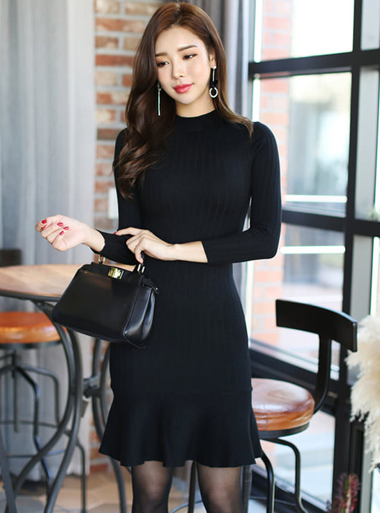 4415c482c2c Eshe Stand Collar Fishtail Knitting Long Sleeve Dress