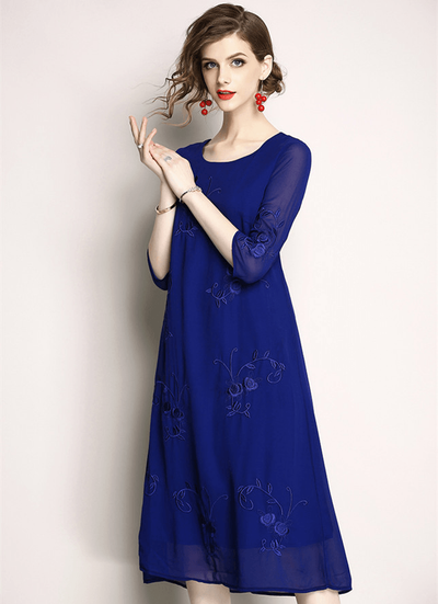 Eunice Floral Embroidery Chiffon A-line Dress