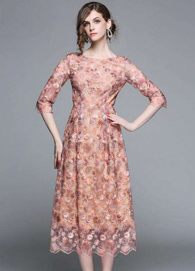 Melissa Floral Embroidery High Waist Maxi Dress