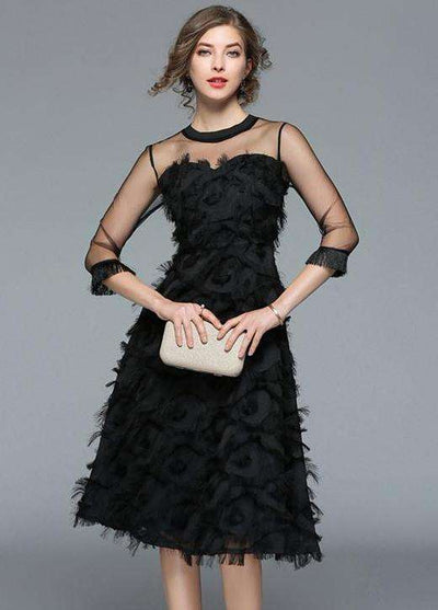 Gabriela Lady Gauze Shoulder Tassels Feather Dress