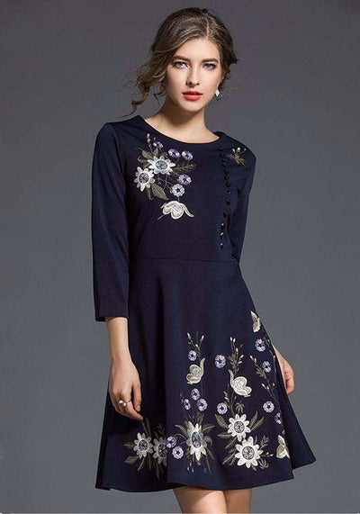 Gebriele Round Neck Flowers Embroidery A-line Dress