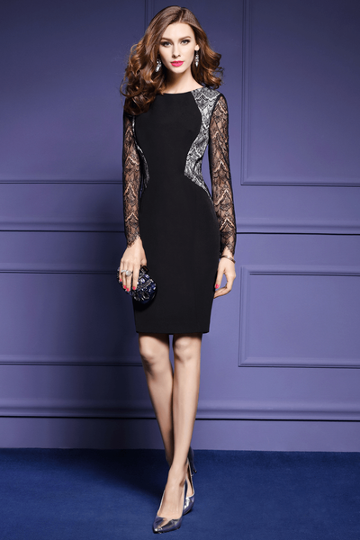Genely Lace Splicing Bodycon Dress