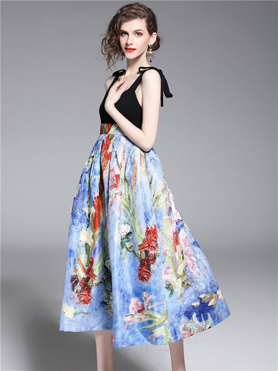 Jaylah High Waist Backless Floral A-line Long Dress