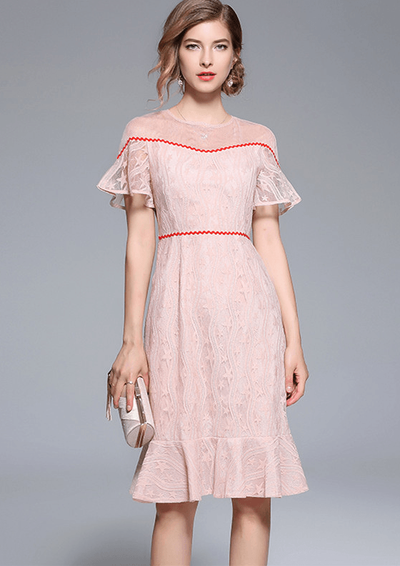 Jeanette O Neck Lace Stars Flare Sleeve Fishtail Dress