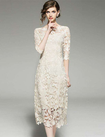 Jennifer Lace Slim Long Dress