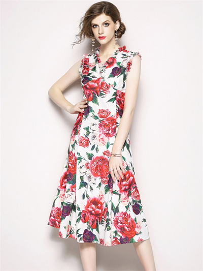 Jessa V-neck Floral Fishtail Tank A-line Dress