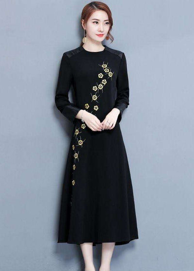 Jessica Flower Embroidery Leather Splicing Long Dress